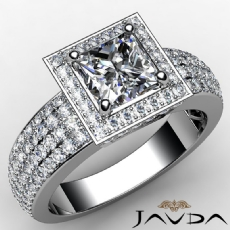 Circa Halo Pave 4 Row Shank Princess diamond engagement Ring in 14k Gold White