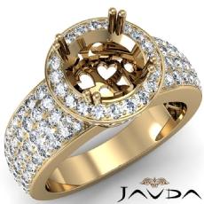 Diamond Engagement Ring Halo Pave Setting Round Semi Mount 14k Gold Yellow  (2Ct. tw.)