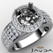 Diamond Engagement Ring Halo Pave Setting Round Semi Mount 14k White Gold 2Ct - javda.com