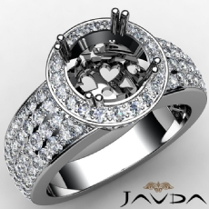 Diamond Engagement Ring Halo Pave Setting Round Semi Mount 14k White Gold 2Ct