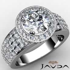4 Row Shank Halo Pave Setting Round diamond engagement Ring in 14k Gold White