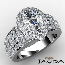 Circa Halo 4 Row Shank Pear diamond engagement Ring in 14k Gold White