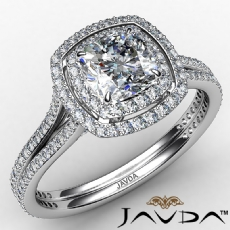 Double Halo Micro Pave Set Cushion diamond engagement Ring in 14k Gold White