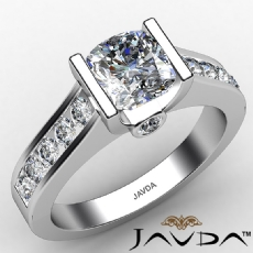 Tension Set Channel Bezel Cushion diamond engagement Ring in 14k Gold White