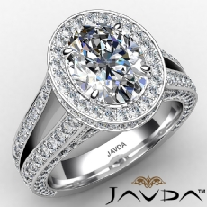 Split Shank Halo Pave Bridge diamond Ring 14k Gold White