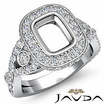 Halo Setting Diamond Engagement Cushion Semi Mount Ring Platinum 950 (1.4Ct. tw.)