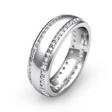 Dome 2 Row Round Diamond Eternity Men's Wedding Band in 14k White Gold 1.1 Ct