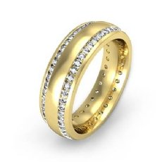 Dome 2 Row Round Diamond Eternity Men's Wedding Band in 14k Gold Yellow  (1.1Ct. tw.)