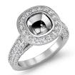 1.7Ct Diamond Engagement Ring Cushion Semi Mount 14k White Gold Halo Setting - javda.com