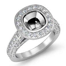 1.70Ct Diamond Engagement Ring Cushion Semi Mount 14K White Gold Halo Setting