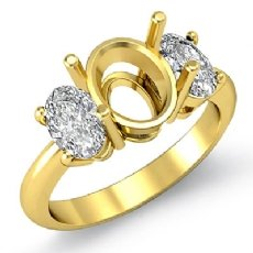 Oval Cut Diamond Three Stone Anniversary Semi Mount Ring 18k Gold Yellow Setting  (1Ct. tw.)