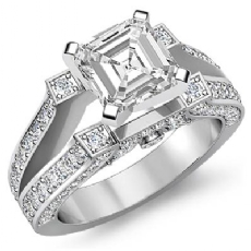 Vintage Split Shank Pave Asscher diamond engagement valentine's deals in 14k Gold White