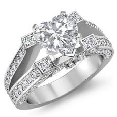 Vintage Split Shank Pave Heart diamond engagement Ring in 14k Gold White