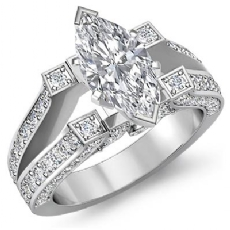 Vintage Split Shank Pave Marquise diamond engagement Ring in 14k Gold White