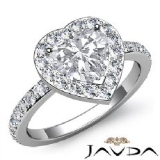 Circa Halo Sidestone Pave Set Heart diamond engagement Ring in 14k Gold White