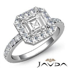 Circa Halo Sidestone Pave Set Asscher diamond engagement Ring in 14k Gold White
