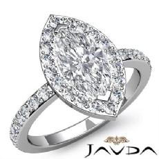 Circa Halo Sidestone Pave Set Marquise diamond engagement Ring in 14k Gold White