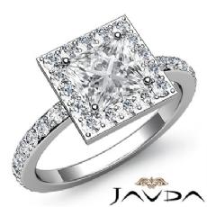 Circa Halo Sidestone Pave Set Princess diamond engagement Ring in 14k Gold White