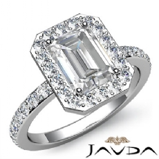 Circa Halo Sidestone Pave Set Emerald diamond engagement Ring in 14k Gold White
