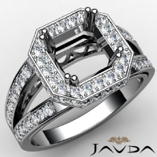 Halo Pave Set Diamond Engagement Ring Asscher Semi Mount 14K White Gold 0.63Ct
