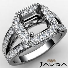 Halo Pave Set Diamond Engagement Ring Asscher Semi Mount 14K White Gold 0.63Ct