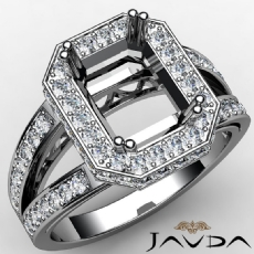 Halo Pre-Set Diamond Engagement Ring 14K White Gold Emerald Semi Mount 0.84Ct
