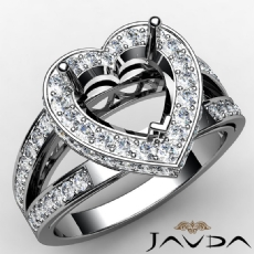 Pave Set Diamond Engagement Bridal Ring Heart Semi Mount 14K White Gold 0.72Ct