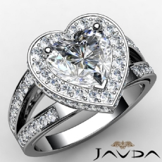 Split Shank Circa Halo Heart diamond engagement Ring in 14k Gold White