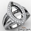 Diamond Engagement Ring Marquise Semi Mount 14k White Gold Pave Setting 0.79Ct - javda.com