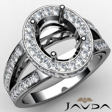 Diamond Engagement Halo Pre-Set Solid Ring Oval Semi Mount 14K White Gold 0.74Ct