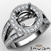 Round Semi Mount Diamond Engagement Halo Pave Setting Ring 14k White Gold 0.76Ct - javda.com