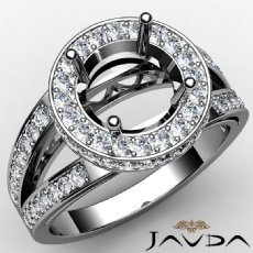 Round Semi Mount Diamond Engagement Halo Pave Setting Ring 14K White Gold 0.76Ct