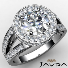 Circa Halo Side Stone Pave Round diamond engagement Ring in 14k Gold White