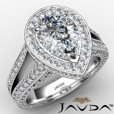 Micropave Halo Split Shank diamond Ring 14k Gold White