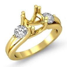 Three 3 Stone Round Diamond Engagement Ring 18k Gold Yellow Semi Mount Setting  (0.5Ct. tw.)