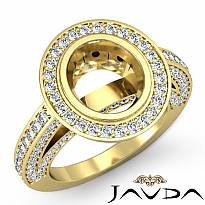 Halo Setting Diamond Vintage Engagement Oval Semi Mount Ring 14k Gold Yellow (2Ct. tw.)