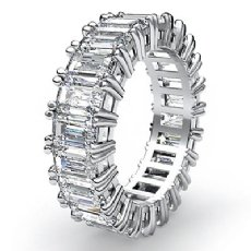 Emerald Cut Diamond Duet Prong Eternity Wedding Women Band Ring Platinum 950  (4.5Ct. tw.)