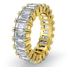 Emerald Cut Diamond Duet Prong Eternity Wedding Women Band Ring 18k Gold Yellow  (4.5Ct. tw.)