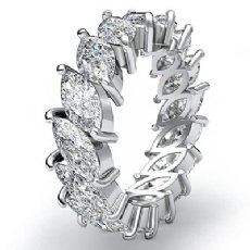 Women's Eternity Band Marquise Cut Prong Set Diamond Ring 14k White Gold 5.3Ct