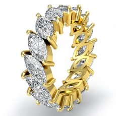 Women's Eternity Band Marquise Cut Prong Set Diamond Ring 14k Gold Yellow  (5.3Ct. tw.)