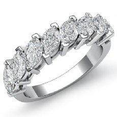 Marquise Cut Prong Set Diamond Half Wedding Band Womens Ring 14k White Gold 2Ct