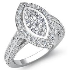 Bezel Halo Bridge Sidestone Marquise diamond engagement Ring in 14k Gold White
