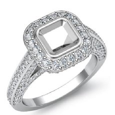 1.25 Ct Halo Setting Diamond Engagement Asscher Semi Mount Ring 14K White Gold