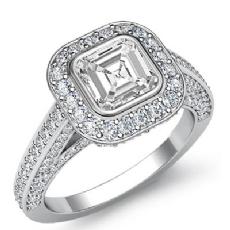 Halo Accent Bridge Bezel diamond Ring 14k Gold White