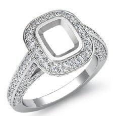 1.25 Ct Pave Setting Diamond Engagement Cushion Semi Mount Ring 14K White Gold