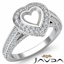 1.25Ct Halo Pave Setting Diamond Engagement Heart Semi Mount Ring 14K White Gold