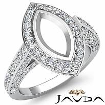 1.25Ct Pave Setting Diamond Engagement Marquise Semi Mount Ring 14K White Gold