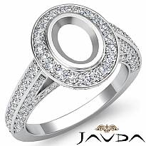 1.25 Ct Halo Pave Setting Diamond Engagement Oval Semi Mount Ring 14K White Gold