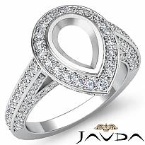1.25 Ct Halo Pave Setting Diamond Engagement Pear Semi Mount Ring 14K White Gold