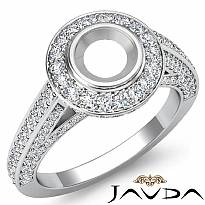 1.25Ct Halo Pave Setting Diamond Engagement Round Semi Mount Ring 14K White Gold